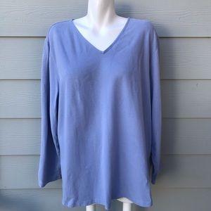 Eileen Fisher Lavender V-Neck Long Sleeve Blouse